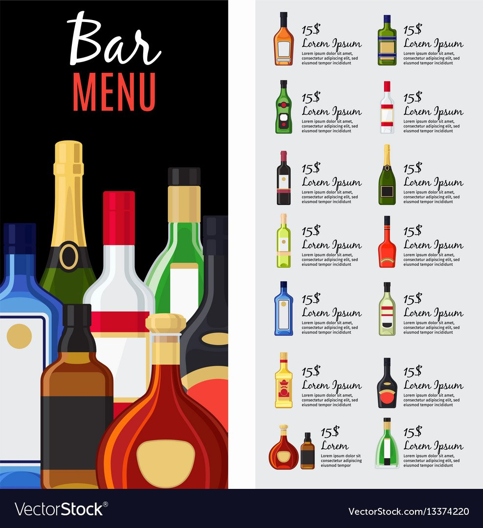 Free Drinks Menu Templates Elegant Alcohol Drinks Menu Template Royalty Free Vector Image