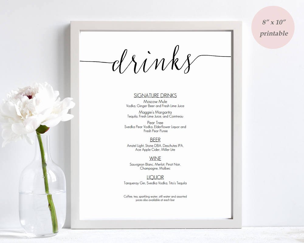 Free Drinks Menu Templates Elegant Drinks Menu Template Printable Wedding Bar Sign Editable