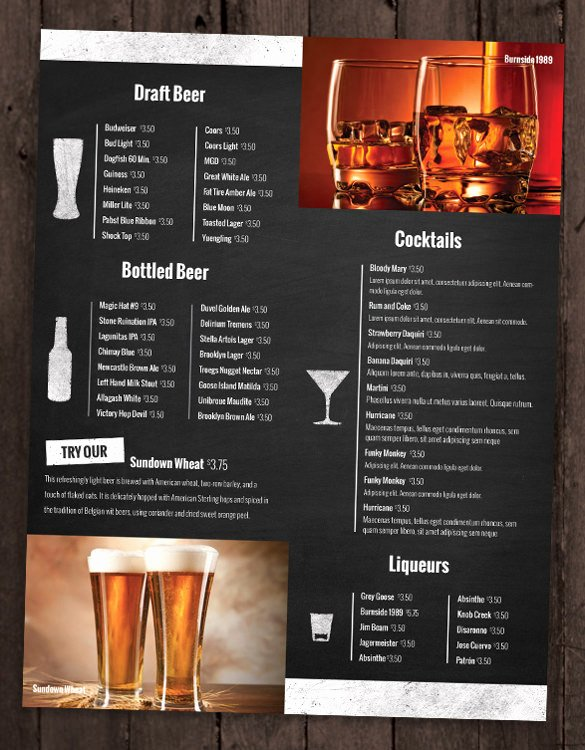 Free Drinks Menu Templates New 28 Drink Menu Templates – Free Sample Example format Download