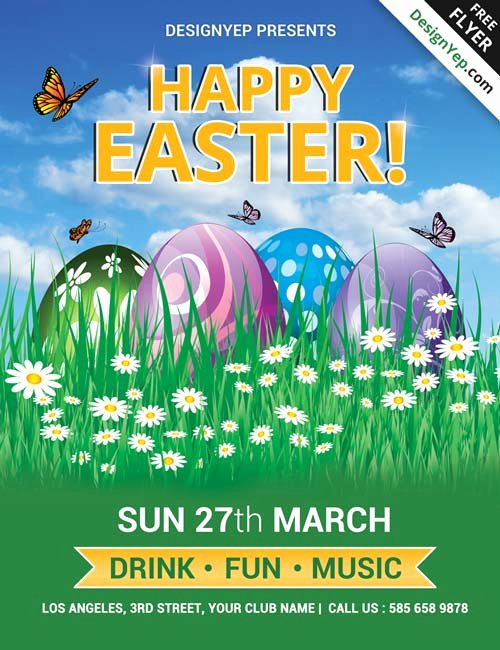 Free Easter Flyer Templates Beautiful Download Happy Easter Party Free Psd Flyer Template