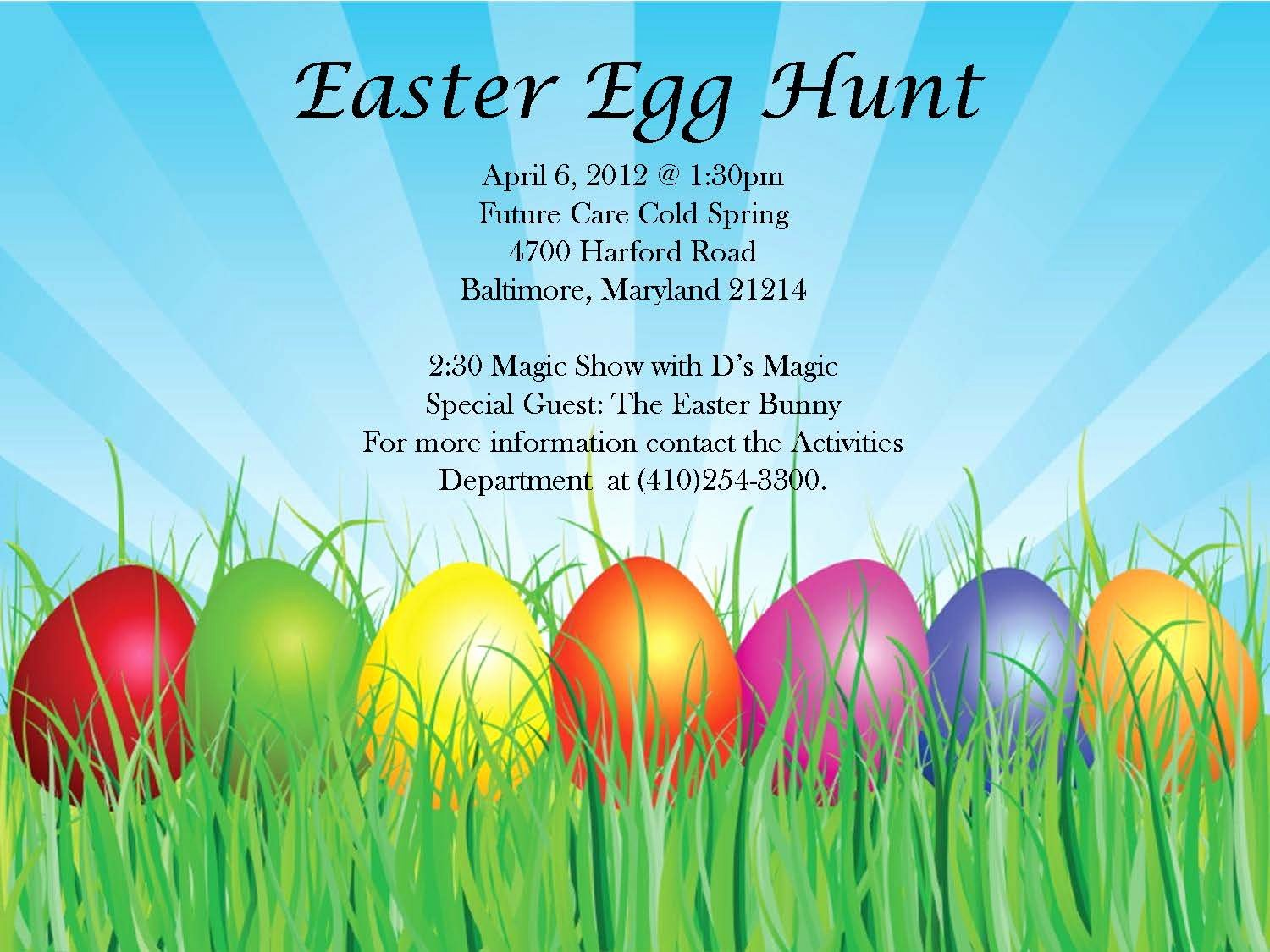Free Easter Flyer Templates Elegant Hamilton Lauraville Main Street News Easter Egg Hunt at Future Care Cold Spring Baltimore