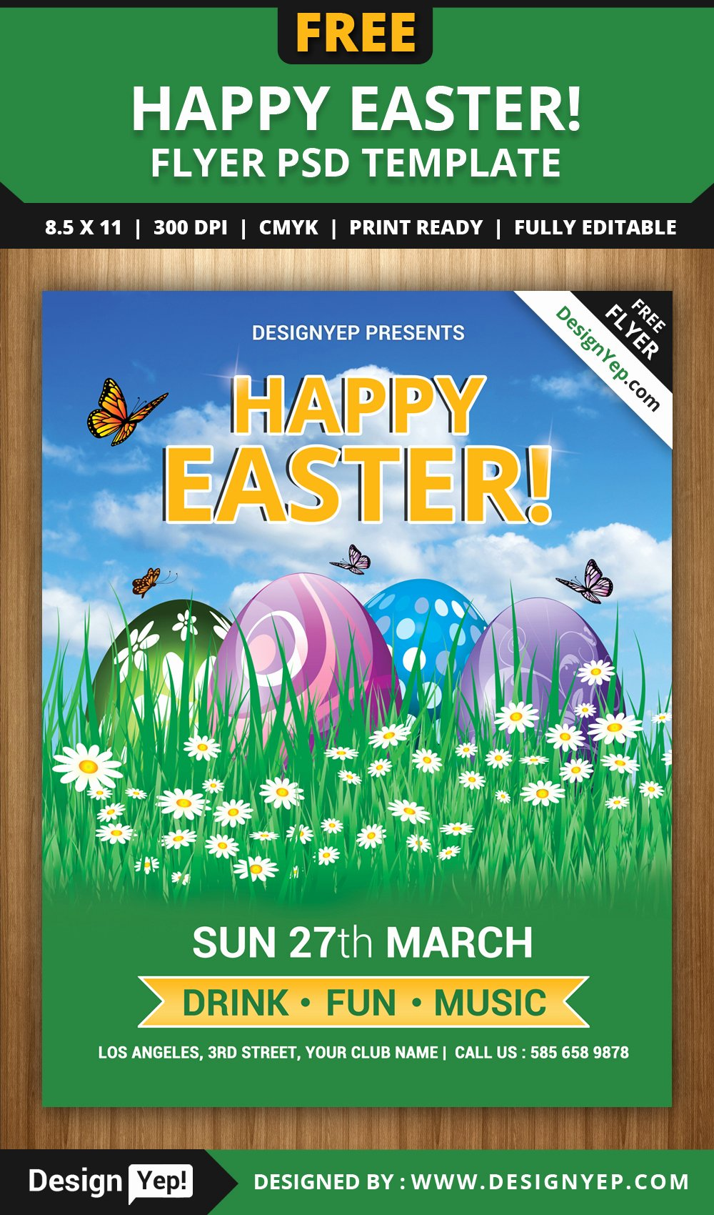 Free Easter Flyer Templates Lovely Free Happy Easter Flyer Psd Template Designyep
