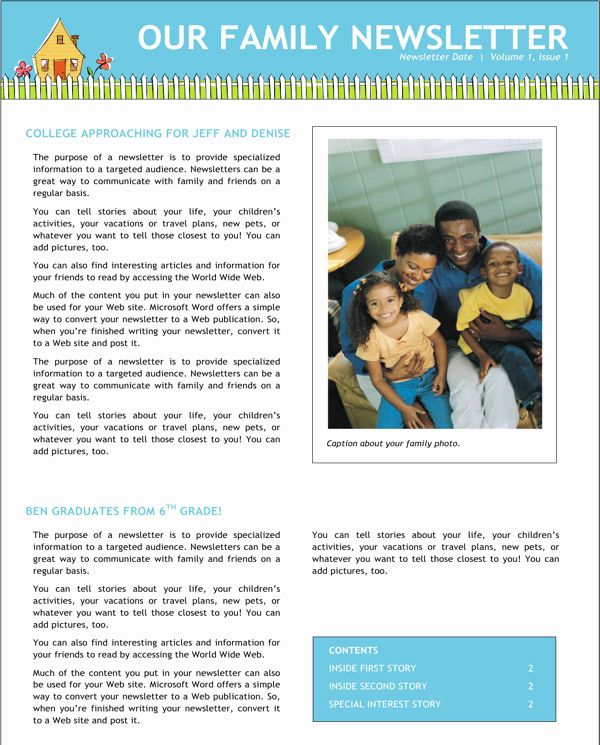 Free Family Newsletter Template Best Of Download Family Newsletter for Free