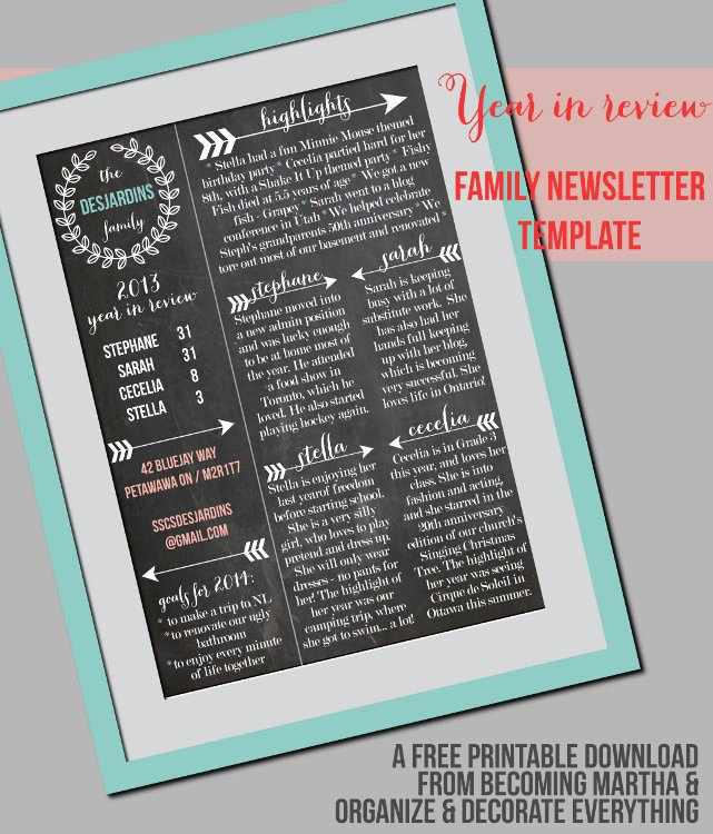Free Family Newsletter Template Elegant Family Newsletter Template Printable Contributor organize and Decorate Everything