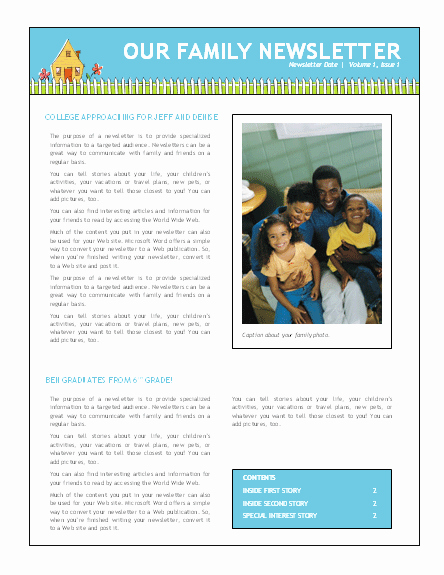 Free Family Newsletter Template Fresh Family Newsletter