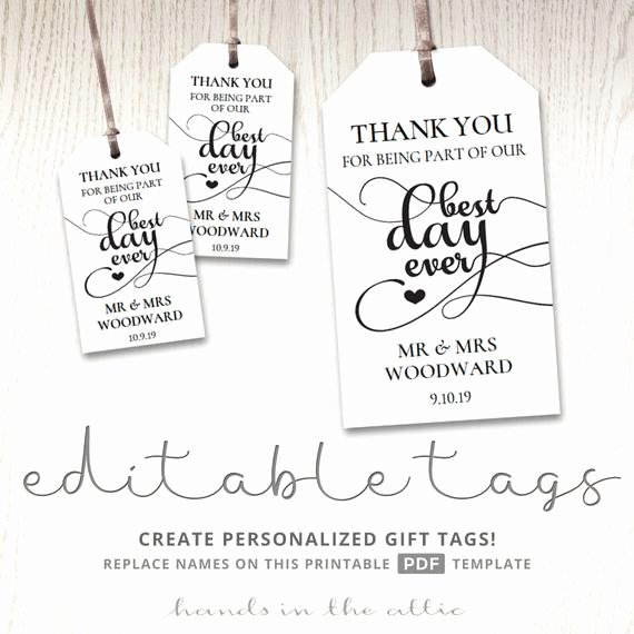 Free Favor Tag Template Best Of Gift Tags for Wedding Day Thank You Best Day Ever Wedding Favor Tags Favour T Bag Tags