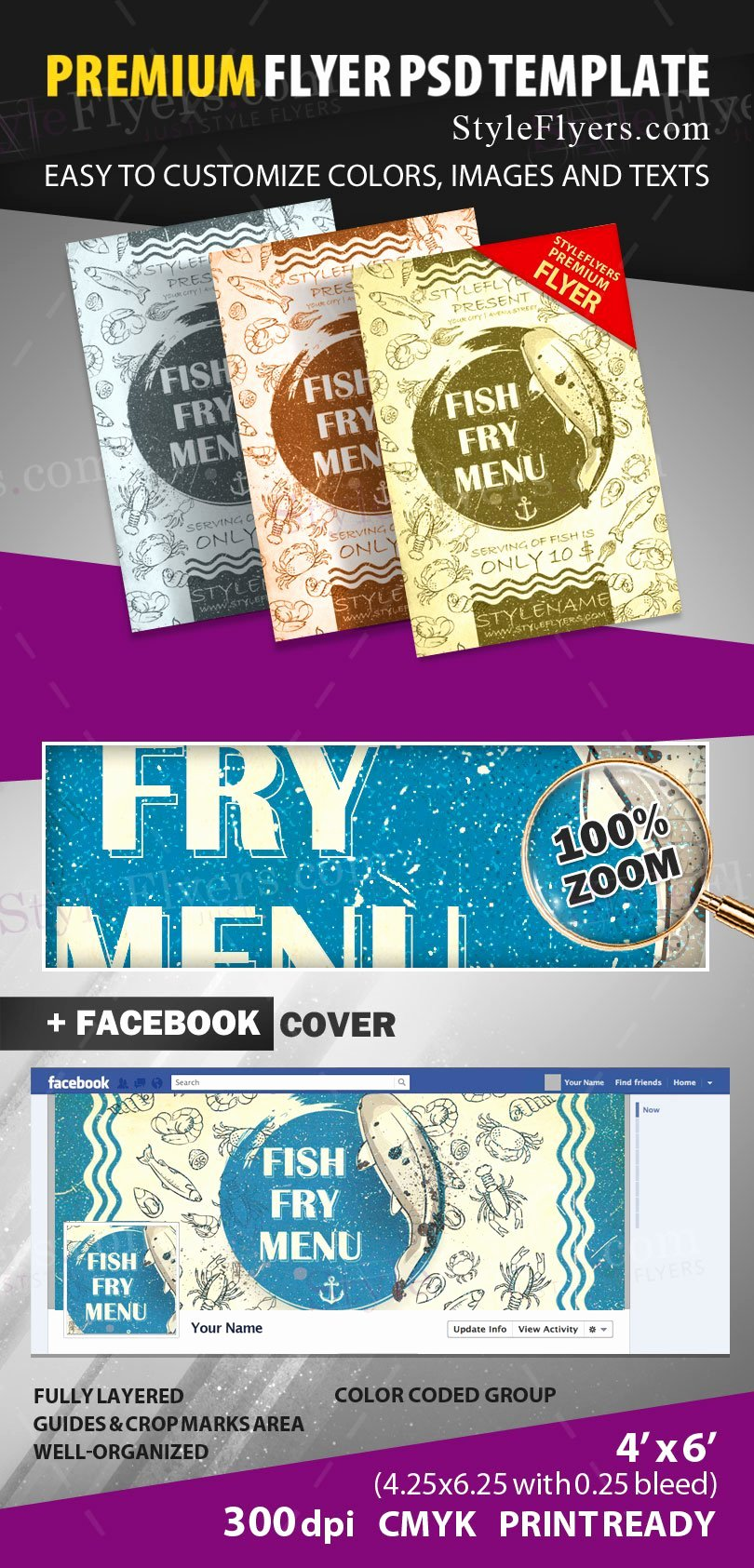 Free Fish Fry Flyer Template Beautiful Fish Fry Menu Psd Flyer Template Styleflyers
