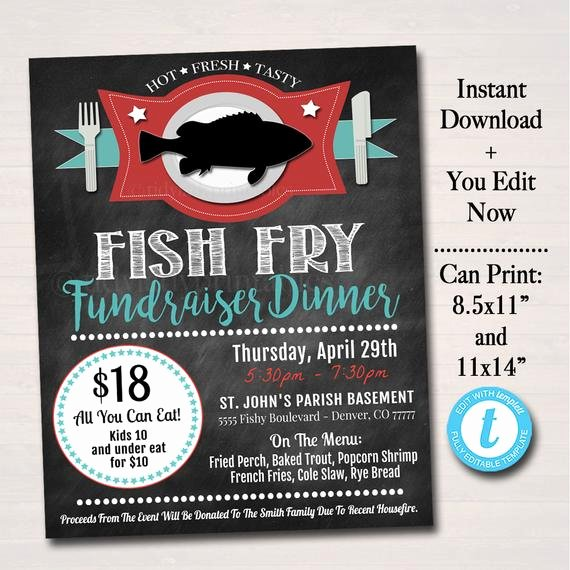 Free Fish Fry Flyer Template Lovely Editable Fish Fry Flyer Printable Pta Pto Flyer Benefit