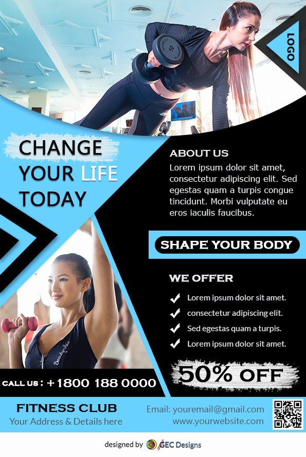 Free Fitness Flyer Template Lovely Download Free Fitness Gym Flyer Design Templates