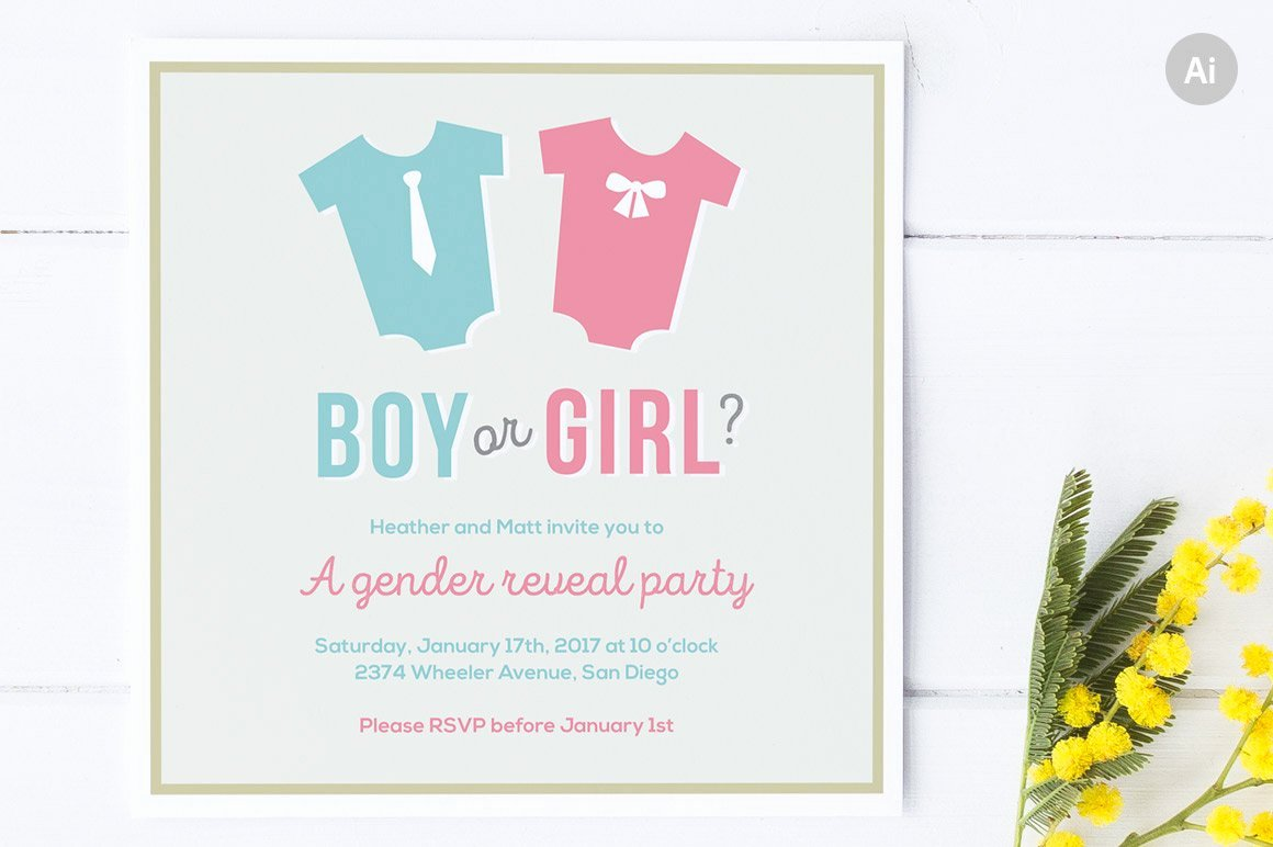 Free Gender Reveal Templates Beautiful Gender Reveal Party Invite Invitation Templates Creative Market