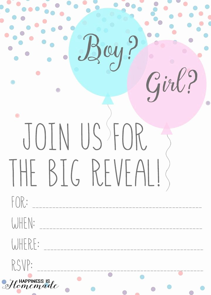 Free Gender Reveal Templates Lovely Baby Gender Reveal Party Ideas & Free Printable Invitation Happiness is Homemade