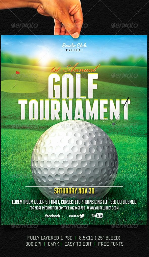 """Free Golf Flyer Templates Elegant Golf tournament Flyer Graphicriver Fully Layered 1 Psd Fully Editable 8 5×11"""" 25"""" Bleed"""