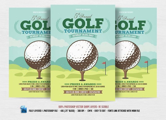 Free Golf tournament Flyers Templates Lovely Golf tournament Flyer Flyer Templates Creative Market