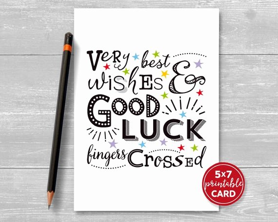 Free Good Luck Cards Inspirational Printable Good Luck Card Very Best Wishes & Good Luck