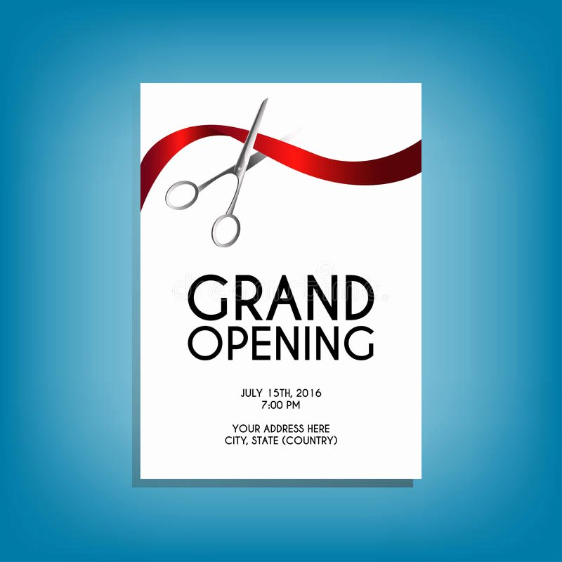 Free Grand Opening Flyer Template Lovely Grand Opening Flyer Mock Up with Silver Scissors Cutting Red Ribbon Stock Vector Illustration