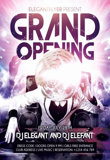 Free Grand Opening Flyer Template Unique Dj for Grand Opening Flyer Template – by Elegantflyer