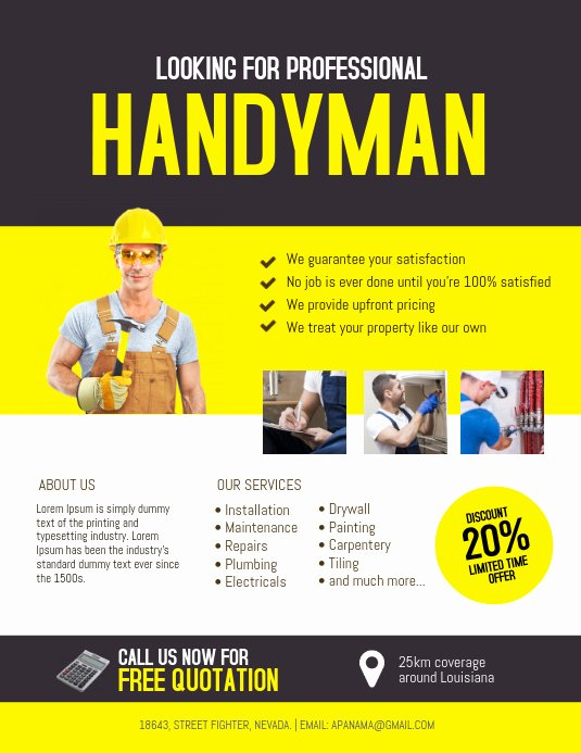 Free Handyman Flyer Templates Best Of Handyman Service Flyer Template