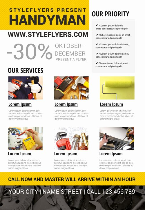 Free Handyman Flyer Templates Luxury Handyman Business Free Flyer Template Download for Shop