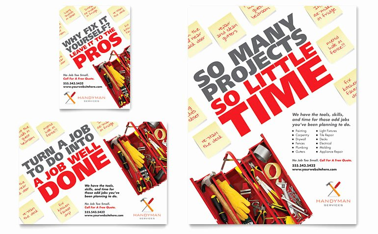 Free Handyman Flyer Templates Unique Handyman Services Flyer & Ad Template Word & Publisher
