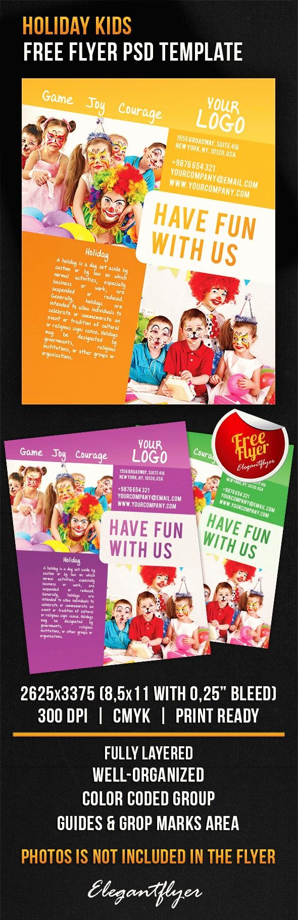 Free Holiday Flyer Template Fresh Holiday Kids – Free Flyer Psd Template – by Elegantflyer