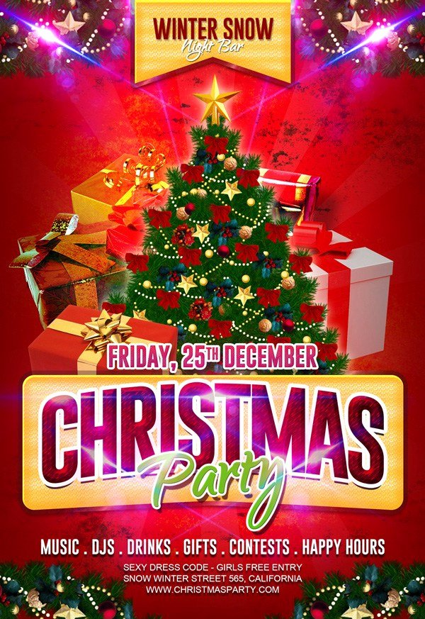 Free Holiday Flyer Template Lovely 30 Free Christmas Party Flyers and New Year Party Flyer Psd Templates