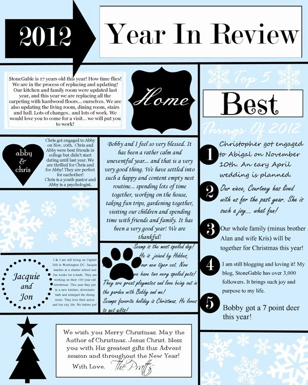 Free Holiday Letter Templates Unique A Year In Review Christmas Letter and Template Stonegable