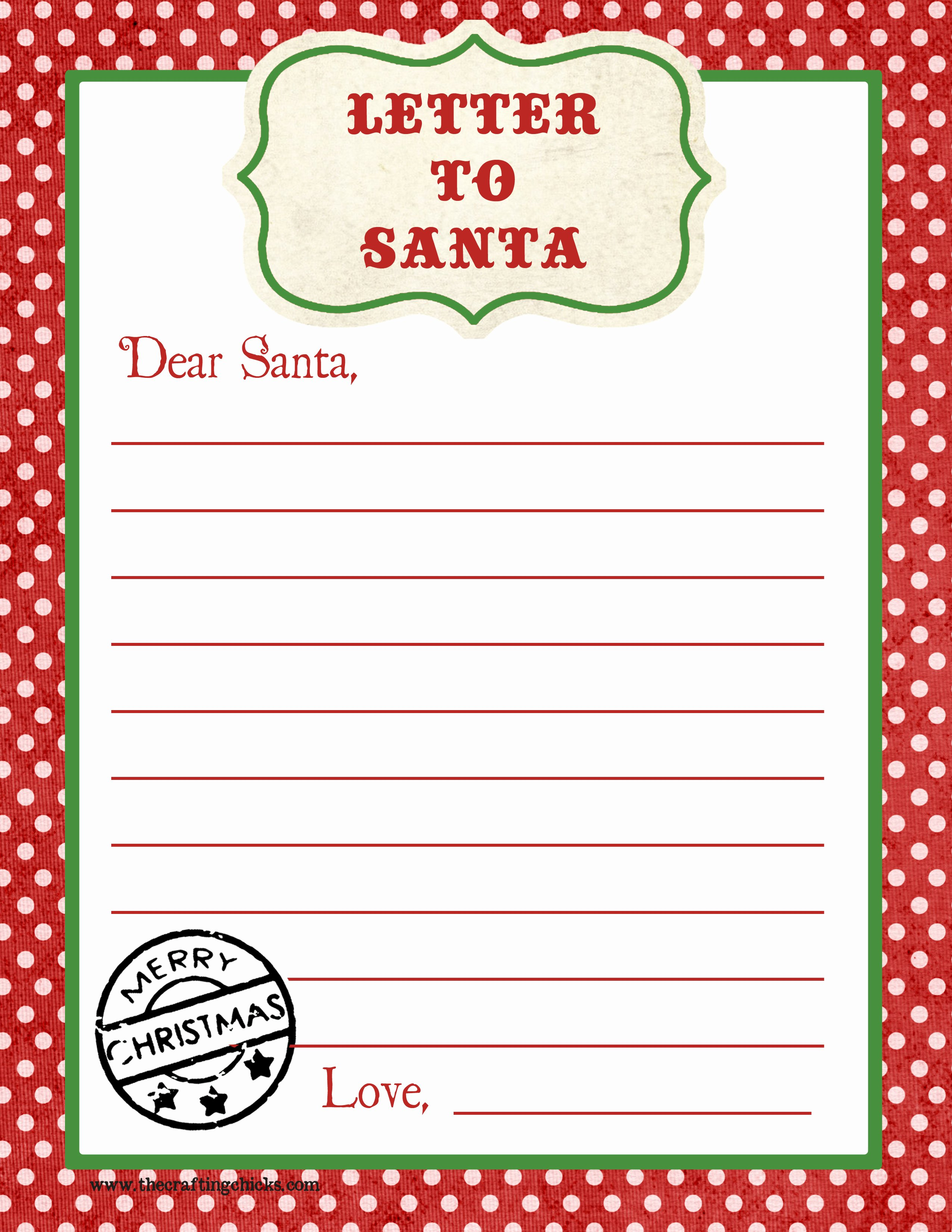 Free Holiday Letter Templates Unique Letter to Santa Free Printable Download