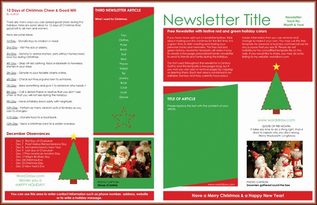 Free Holiday Newsletter Templates Awesome 9 Christmas Newsletter Templates to Create Printable and