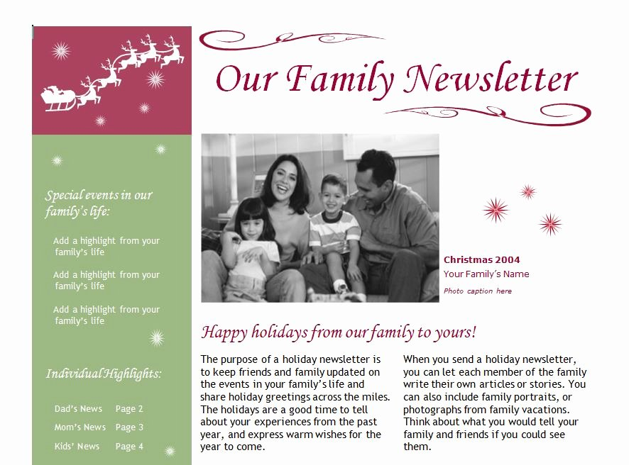 Free Holiday Newsletter Templates Elegant Christmas Newsletter Template