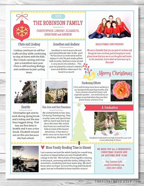 Free Holiday Newsletter Templates Inspirational 2017 Year In Review Newsletter Template In Pdf for Print