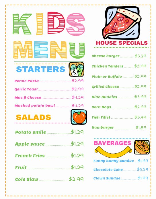Free Kids Menu Template Unique Wide Kids Menu Template