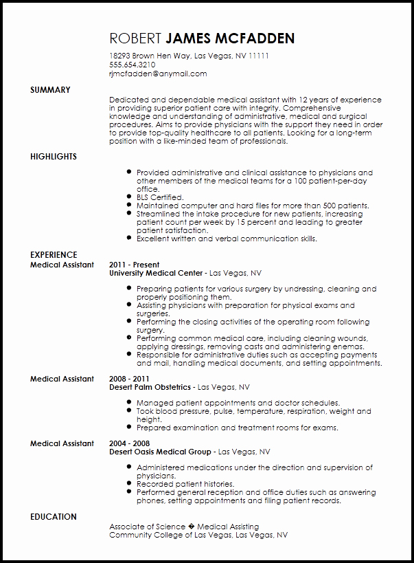Free Medical assistant Resume Templates Awesome Free Traditional Medical assistant Resume Template
