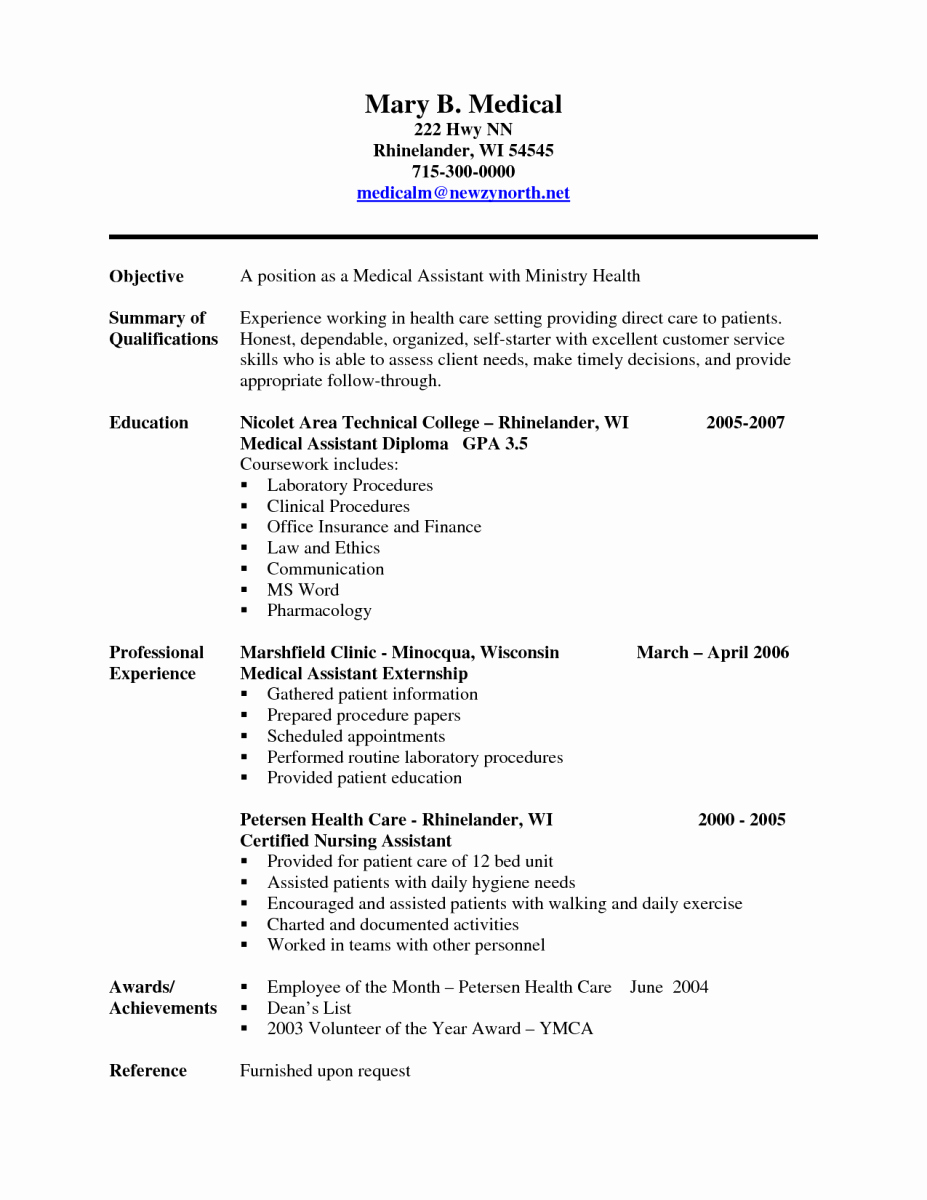 Free Medical assistant Resume Templates Beautiful Sample Of A Medical assistant Resume
