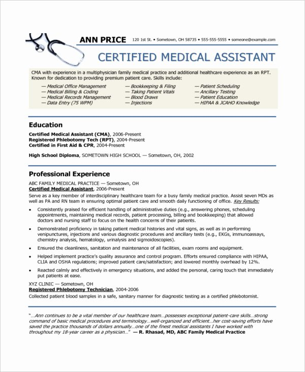 Free Medical assistant Resume Templates Best Of 10 Medical assistant Resume Templates Pdf Doc