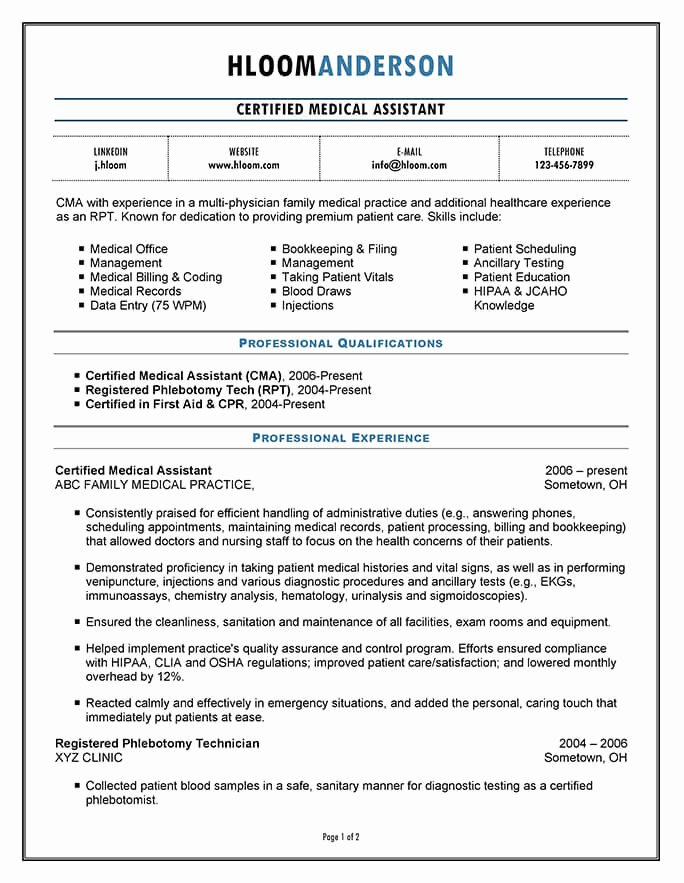 Free Medical assistant Resume Templates Best Of 16 Free Medical assistant Resume Templates