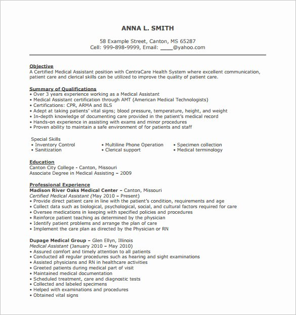 Free Medical assistant Resume Templates Elegant 24 Best Medical assistant Sample Resume Templates Wisestep