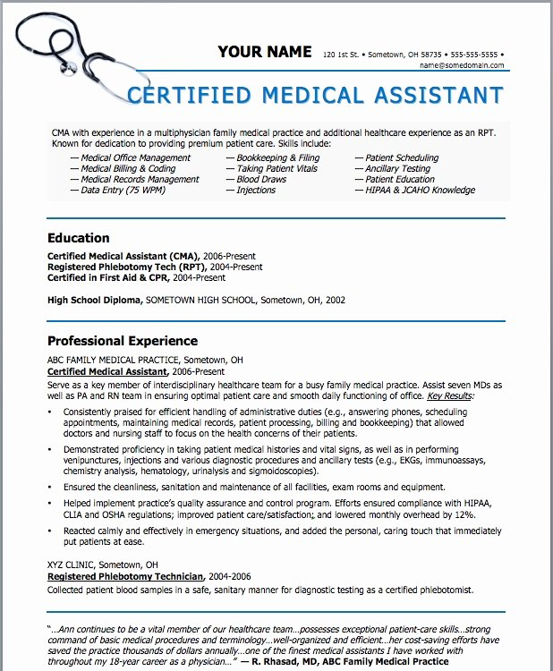 Free Medical assistant Resume Templates Fresh Sample Resumes for Medical assistant