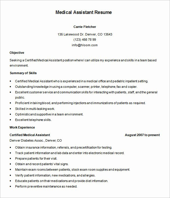 Free Medical assistant Resume Templates Lovely 5 Medical assistant Resume Templates Doc Pdf