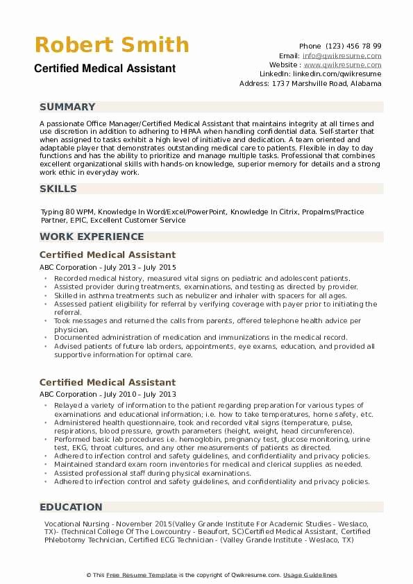 Free Medical assistant Resume Templates New Certified Medical assistant Resume Samples