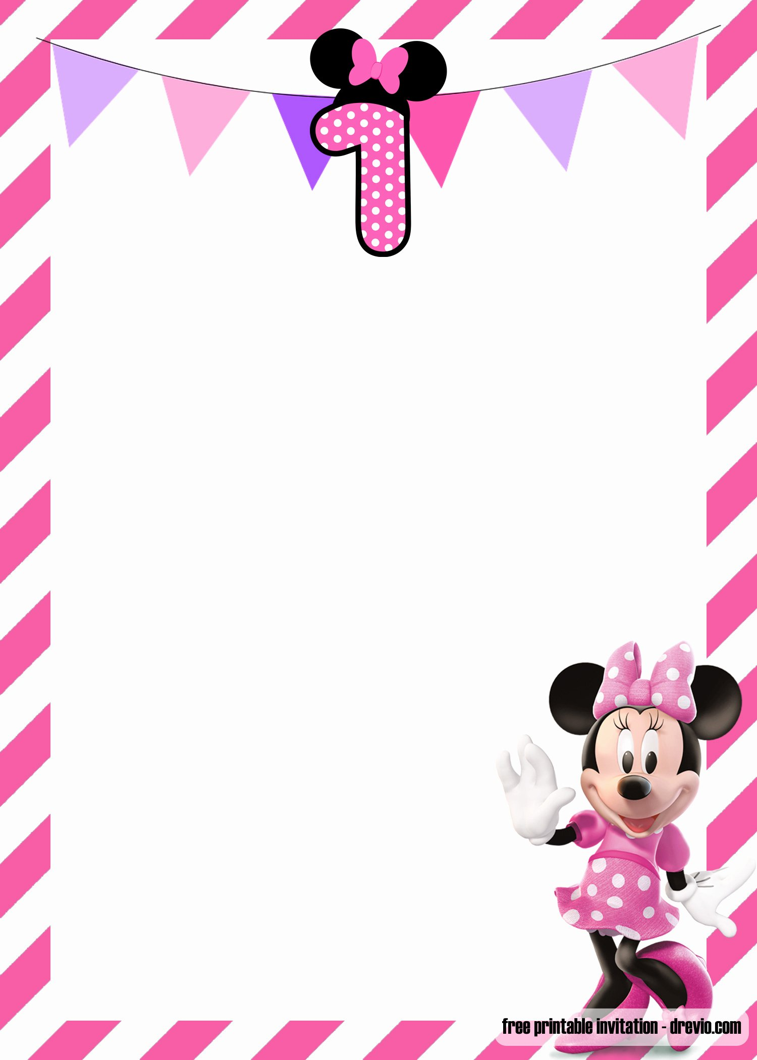 Free Minnie Mouse Invitations Beautiful Free Minnie Mouse 1st Birthday Invitations Templates