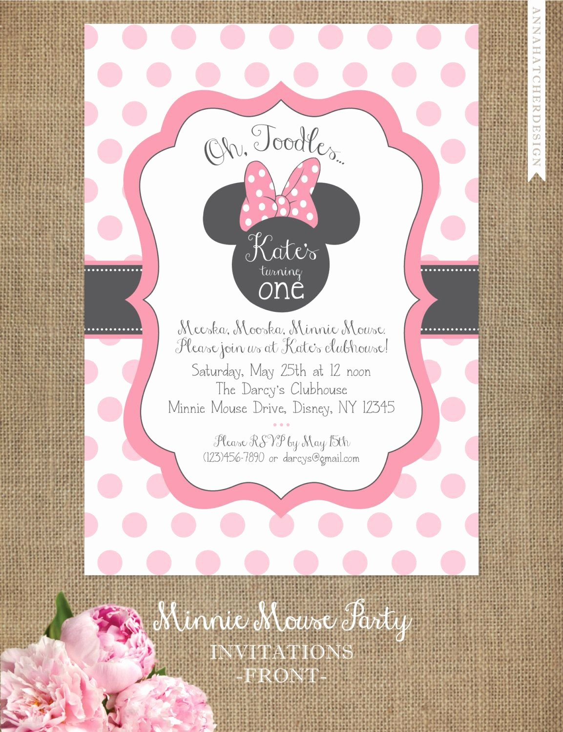 Free Minnie Mouse Invitations Beautiful Minnie Mouse Invitation Editable Birthday Invitation