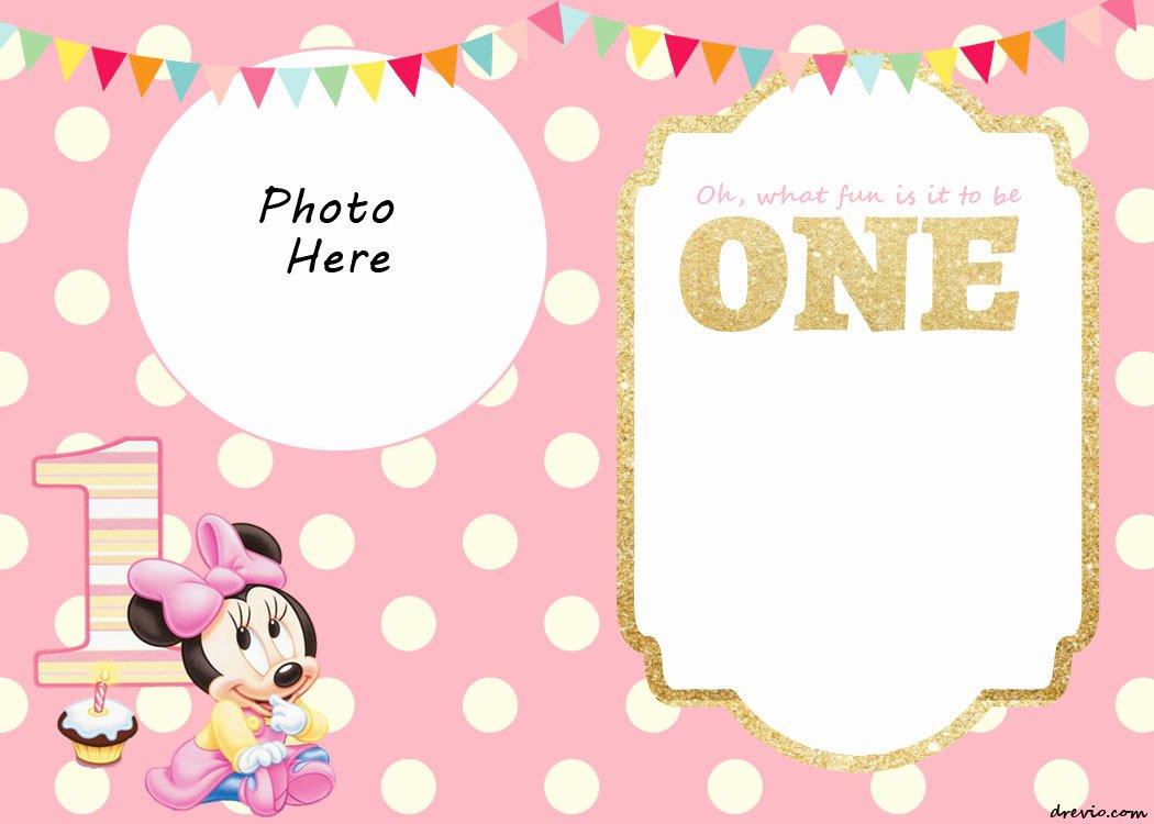 Free Minnie Mouse Invitations Elegant Free Printable Minnie Mouse 1st Invitation Templates