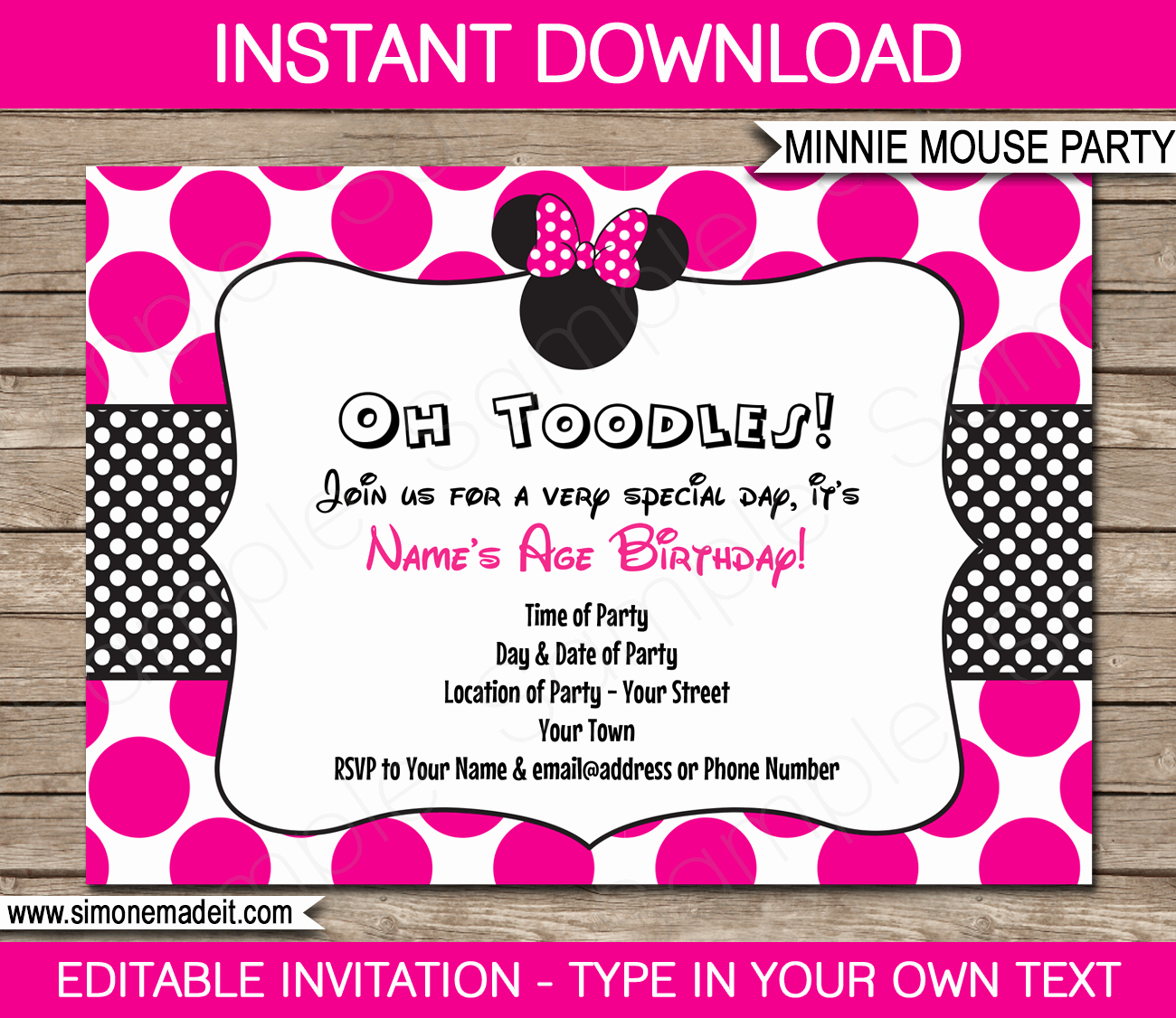Free Minnie Mouse Invitations Lovely Minnie Mouse Party Invitations Template