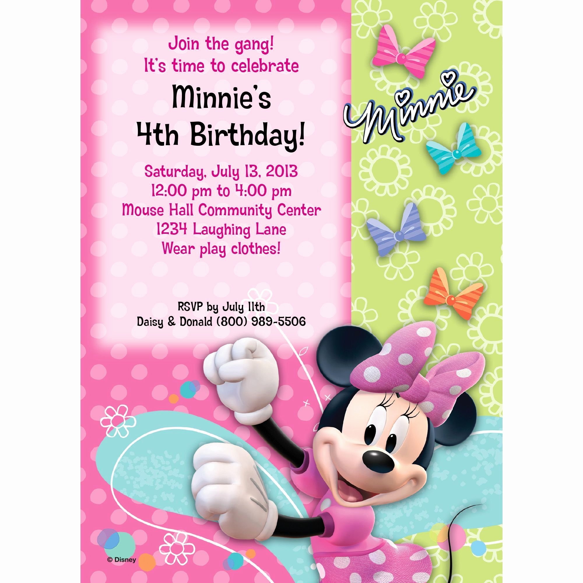 Free Minnie Mouse Invitations Lovely Miss Mouse Invitation Party Supplies