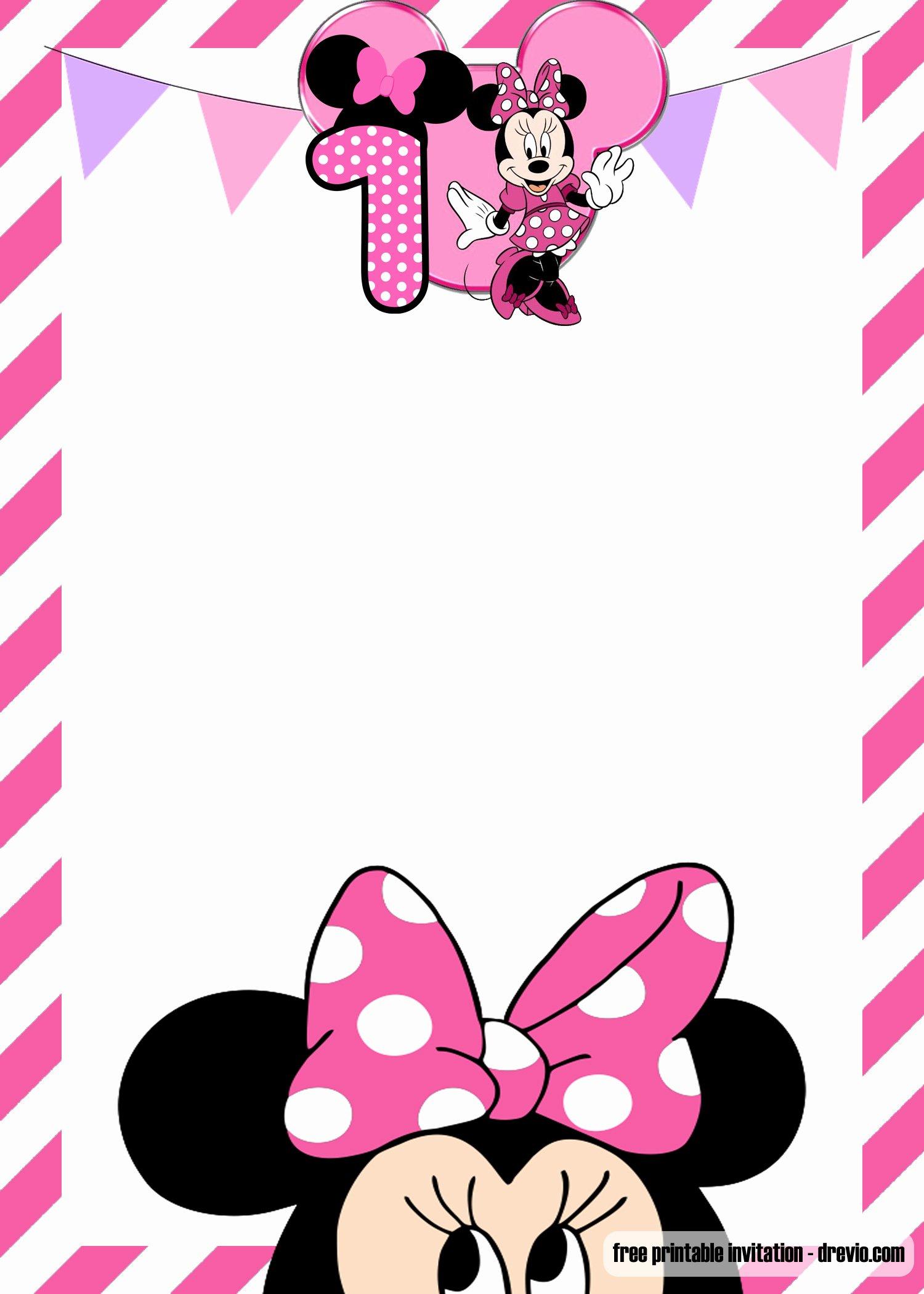 Free Minnie Mouse Invitations Luxury Free Minnie Mouse 1st Birthday Invitations Templates