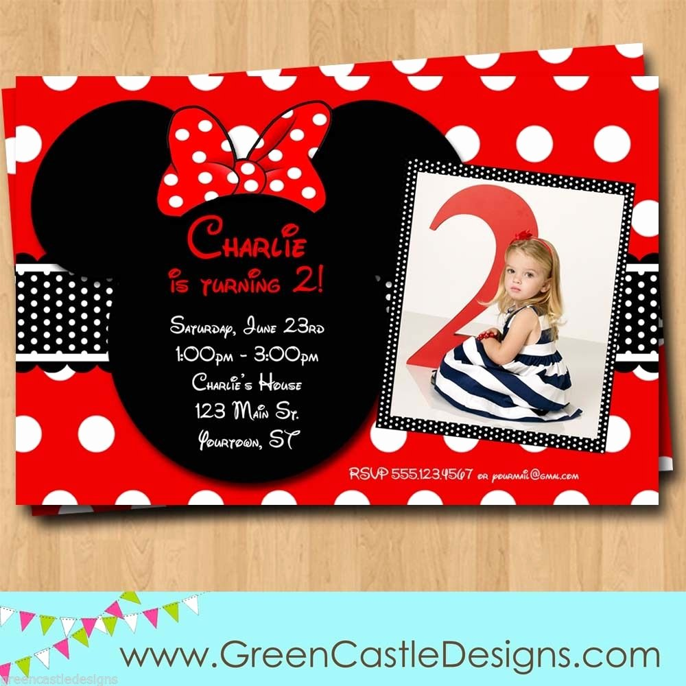 Free Minnie Mouse Invitations Unique Free Customized Minnie Mouse Birthday Invitations Template