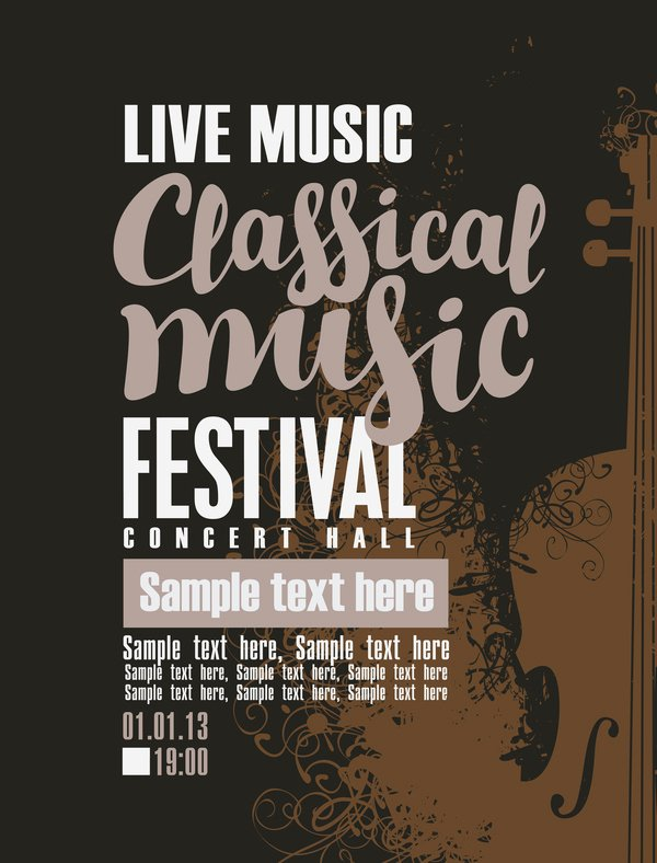 Free Music Poster Templates Best Of Classical Music Retro Concert Poster Template 11 Free
