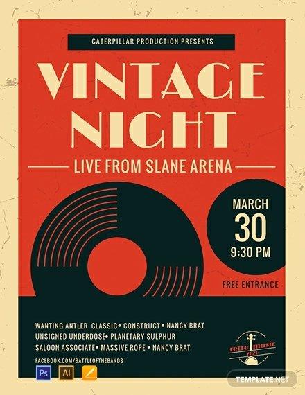 Free Music Poster Templates Elegant Free Vintage Music Poster Template Psd Apple Pages Illustrator