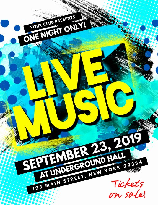 Free Music Poster Templates Inspirational Copy Of Live Music Flyer