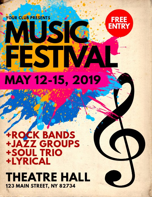 Free Music Poster Templates Inspirational Music Festival Flyer Template